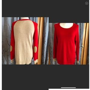 J. Crew S colorblock elbow patch sweater red